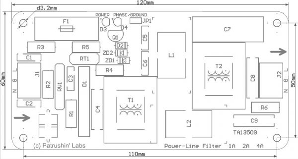Power EMI Filter for Audio PCB layout TA13509